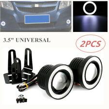 "2PC 3.5"" Car SUV Fog Light Xenon White COB Angel Eye Halo Ring Driving Head Lamp"