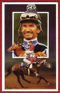 "Willie Shoemaker HOF Jockey 1991 Legends Magazine 3-1/2"" x 5-1/2"" Postcard #5"