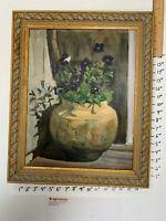 Susie Gách Peelle Original Oil Painting - Purple Pansies - Framed - CPNassau!