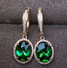 9Ct Oval Green Tsavorite Halo Diamond Dangle hoop earrings 14K Rose Gold Finish