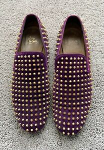 Authentic Christian Louboutin Gold Spikes Mens Loafer US12 EU45 UK11