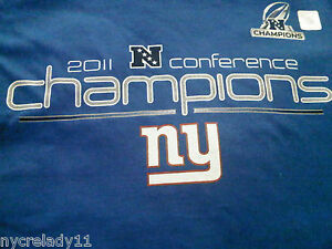 NWOT New York Giants 2011 NFC Conference Champions T-Shirt  Sz SMALL Royal Blue