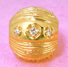 Vermeil GOLD Round Ball BEAD w * 12 Sparkling CZ * For Charm Bracelet / Necklace