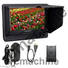 """Lilliput 7"""" 665/O v3 HDMI In & Out Monitor+Canon LP-E6 adapter+shoe mount+cable"""