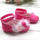 NEW Baby Girl Fur & Rosettes Detail Hot Pink Ballerina Shoes 0-18m Size 2/4/5