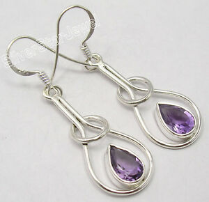 "925 Pure Silver Stunning DROP AMETHYST INEXPENSIVE New Earrings 1.8"" WELL MADE"