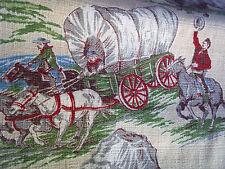 Pair vintage barkcloth western cowboy 1950's cotton fabric drape curtain panels!