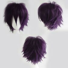 Women Men New Anime Short Wig Layer Straight Cosplay Full Wigs Pink White Blue h