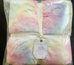 Pottery Barn Teen Tie Dye Faux Fur Throw Blanket 45x60 New