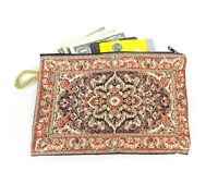 Large Coin Purse Tapestry Red White Turkish Rug Credit Card Cash Coin Pouch