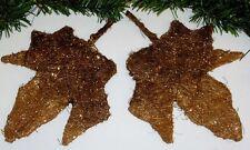 2 große Deko Blätter 15x15 cm braun mit Goldglimmer tolle Weihnachtsdeko 5319