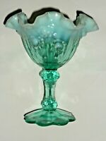 Fenton Cabbage Rose Green Opalescent Candy Dish Footed Compote Vintage 6 1/2""
