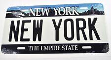 USA Auto Nummernschild License Plate Deko Blechschild New York weiß-blau
