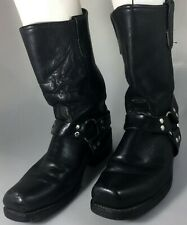 Double H Harness Mens 10 D Oiled Black Leather Motorcycle Biker Boots