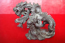 Old Rare Spain Toledo Dragon with three heads lead carved figure statue
