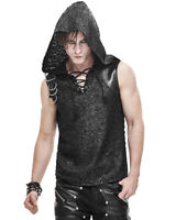 Devil Fashion Mens Dieselpunk Hooded Tank Top Vest Black Dystopian Gothic Punk