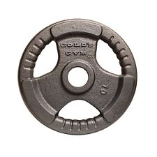 Golds Gym 10kg Tri-Grip Olympic Weight Plate Barbell Lifting Dumbbell Disc