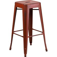 30' High Backless Distressed Kelly Red Metal Indoor Barstool