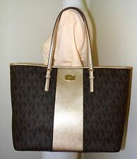 MICHAEL KORS JET SET TRAVEL CENTER STRIPE BROWN GOLD LARGE CARRYALL TOTE BAG