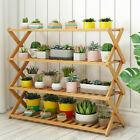 Heavy Foldable Bamboo Multi Tier Plant Stand Rack Bonsai Organizer Display Shelf