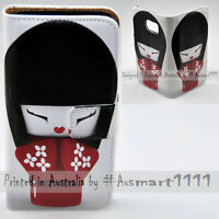 For Samsung Galaxy Series - Kokeshi Doll Print Wallet Mobile Phone Case Cover