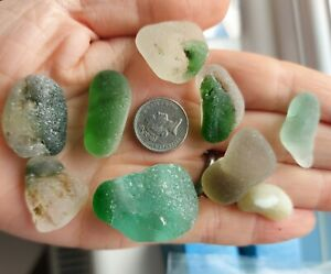 9 Bonfire Sea Glass Multis Green Clear Uneven Knobbly Inclusions
