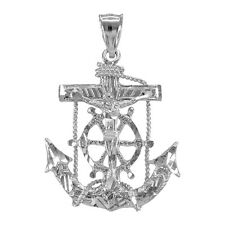 White Gold Mariner Crucifix  St. Clement's Cross Anchor Pendant