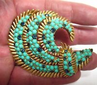 RARE CROWN TRIFARI TURQUOISE BLUE RHINESTONE PIN BROOCH VINTAGE