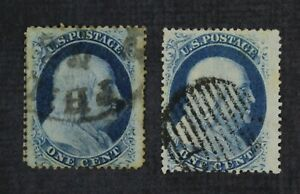 CKStamps: US Stamps Collection Scott#24 1c Franklin Used 1 Tiny Tear