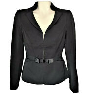 White House Black Market Womens Size 0 Black Career Blazer Suit Top Bow Belt