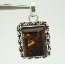 Vintage Sterling Silver/925 Retangular Baltic Amber Dangle Pendant