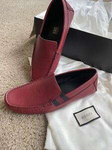Gucci Man Shoes Red Leather Web Mocasins Size G8/US9