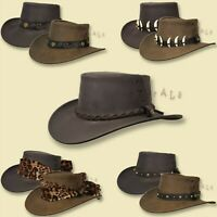 ~oZtrALa~ HAT Australian BUFFALO Leather OUTBACK Men's Ladies Band Cowboy JACARU
