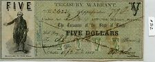 """$5 Confederate Tx Treas. Warrant (#702) Nice Note, One Pinhole, Some Staining. """""""