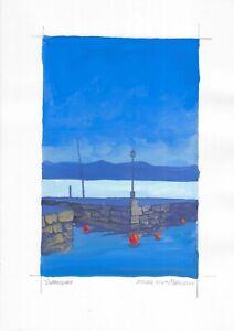 original painting A4 249MA art samovar Gouache landscape Signed 2021