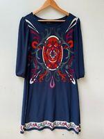 STELLA 3/4 Sleeve Blue A-Line Knee length stretch dress Print Size 10