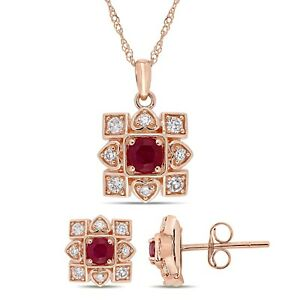Amour 10k Rose Gold Ruby and Diamond Artisanal Halo Necklace & Earrings Set