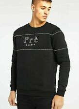 Pre London Mens Tape Designer Crew Sweatshirt Sweater Jumper Black Fleece Long