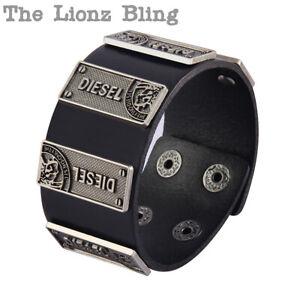 Urban Industrial Diesel Mohawk Wide Band Genuine Black Leather & Metal Bracelet