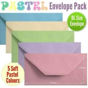100 Pastel Colour Envelopes. Multi Coloured DL Gummed Pastel Coloured Envelopes.