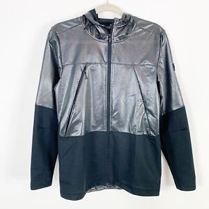 Men's Under Armour Fitted Black Reflective Windbreaker Jacket Size Small