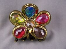 Antiqued gold metallic faceted flower hair clip barrette claw clamp accessory