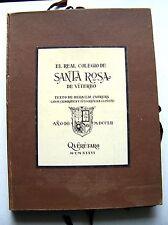 RARE 1981 Spanish Edition EL REAL DE COLEGIO DE SANTA ROSA DE VITERBO