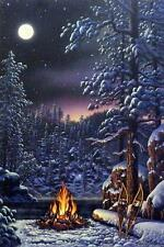 """Kim Norlien """"Fire and Ice"""" Campfire Northern Lights Print 13""""W x 19"""" H"""