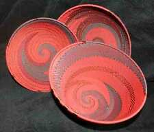 Warm Plum Wine - 3 Piece Handmade African Zulu Telephone Wire Basket/Bowl Set