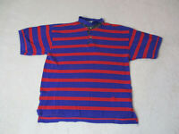 VINTAGE Tommy Hilfiger Polo Shirt Adult Extra Large Blue Red Striped Crest 90s