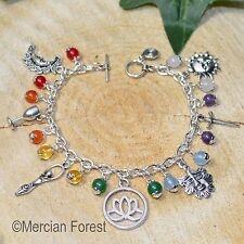 The Wiccan Chakra Charm Bracelet  - Pagan Jewellery, Witch, Wiccan, Meditation