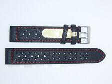 Di-Modell Impermeable perforado 18 mm Negro reloj banda correa Rallye Wapro Rojo