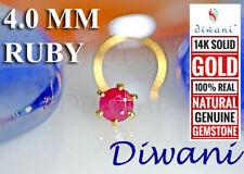Piercing Ring Pin Stud 14k Gold 4.0mm Natural Ruby Engagement Wedding Nose
