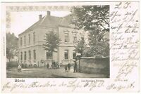 Ansichtskarte Bünde/Westfalen - Landmesser Bureau mit Kindern 1901 schwarz/weiß